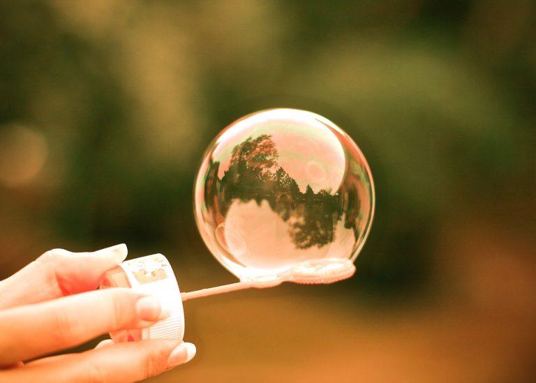 Single colourful bubble